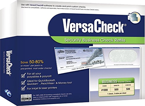 VersaCheck Security Business Check Refills: Form #1000 Business Voucher - Green - Classic - 500 Sheets