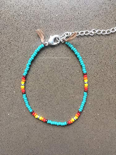 Anklet for Women or Girls, Unique Native American Style Thin Beaded Anklet Bracelet, Turquoise Colorful Boho Hippie Beach Foot Jewelry, Handmade