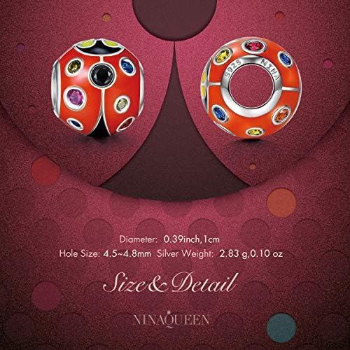 avec Boite Cadeau NINAQUEEN/® Charm et Perles Coccinelle /à Sept Points Argent Sterling 925 /Émail Exquis