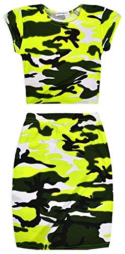 [Girls Neon Camo Midi Skirt And Crop Top Set Yellow 11-12 Years] (Neon Outfits)