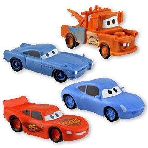 Disney Cars Set of 4 Figurines (Lightning McQueen, Sally, Mater & Finn) -