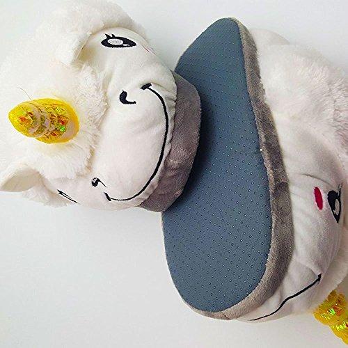 Unicornio Felpa Suave Calentar Zapatillas Zapatos 1 talla para todos, 36-41 Blanco