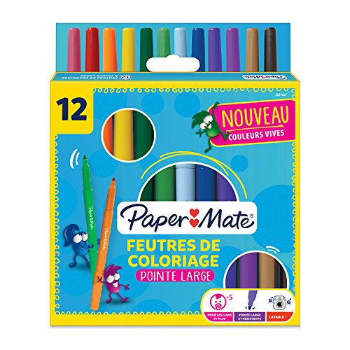 Paper Mate 2027641 Youth Art Lot de12 Stylos feutre, pointe épaisse Couleurs Assorties