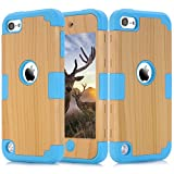 iPod Touch 5 Case, iPod Touch 6th Gen. Case, Easytop 3 in 1 Wood Series High Impact Hybrid Armor Defender Soft Flexible Inner Silicone Protective Hard Case Cover for Apple iPod Touch 5/ 6 (Blue)