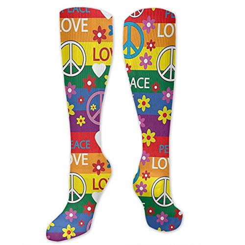 Wushidh83 Heart Peace Symbol Flower Power Political Hippie Cheerful Colors Festival Joyful Men's/Women's Sensitive Feet Wide Fit Crew Socks and Cotton Crew Athletic Sock