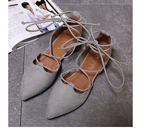 à Couleur Ballerines Solide Fermé Casual Toe Gris Automne Chaussures Printemps Mode Minetom Pointu Mocassins Lacets Confortable Femmes Eté Zzx0w