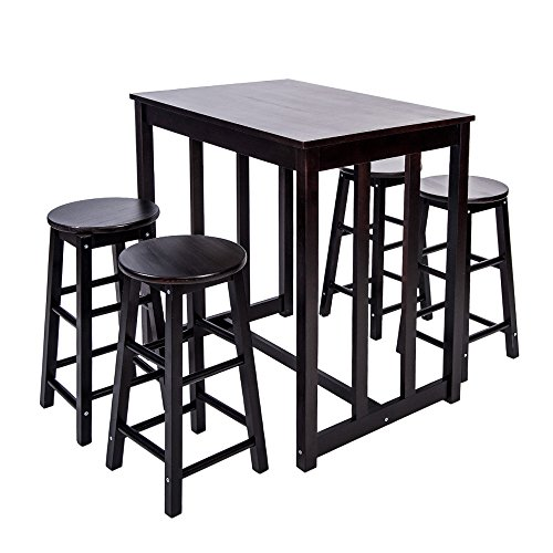 Merax 5-piece Dining Table Set High/Pub Table Set with 4 Bar Stools (Espresso) (Pub Tables Sets)