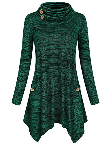 Green Tunic Sweater (Hibelle Long Sleeve Mock Turtleneck, Women's Classy Long Sleeve Classic Button Design Fitted Gym Tops Graceful Basic Knitting Pleated Flows Hem Sweaters With Pockets Dark Green L)