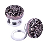 00 double steel plug - 00G Screw Fit Plugs Stainless Steel Rose Goldtone Set (10mm) - 2 Pieces