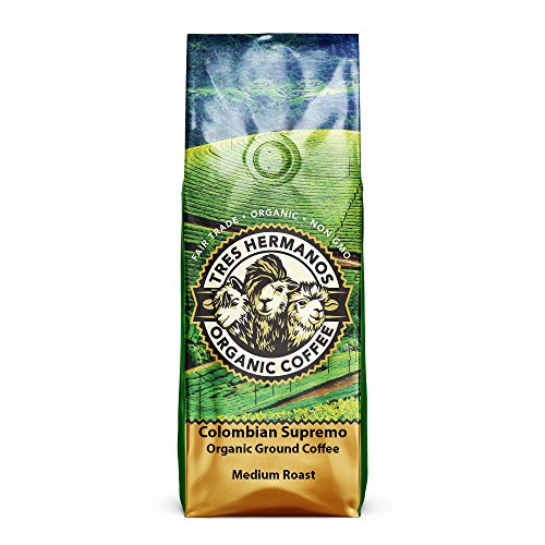 Tres Hermanos Fairtrade Low-Acid Organic Coffee (Colombian Supremo Medium Ground Coffee, 2 lb)
