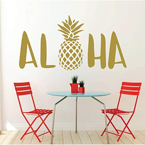 (Aloha Wall Decal Sticker With Hawaiian Pineapple Design - Pineapple Decor - Vinyl Art)