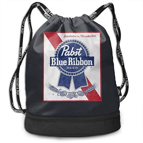 Pabst Blue Ribbon Drawstring Backpack Sports Gym Bag Large String Backpack Cinch Sack Waterproof Swim Bag Women Men