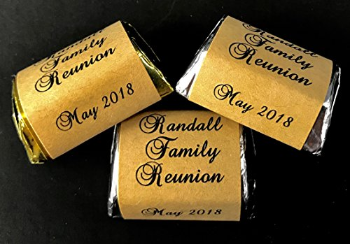 120 RUSTIC THEMED Personalized Candy Labels/Wrappers/Stickers for Family Reunion fits Hershey Nuggets -
