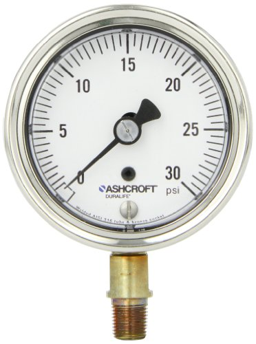Ashcroft Duralife Type 1009AW Stainless Steel Case Pressure Gauge With Bronze System, 2.5 Dial Size, 1/8' NPT Lower Connection, 0/30 psi Range
