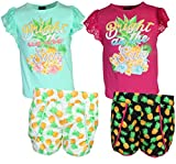 dollhouse Girls 4-Piece Graphic Top and Short Set, Bright in Sun, Size 10/12'