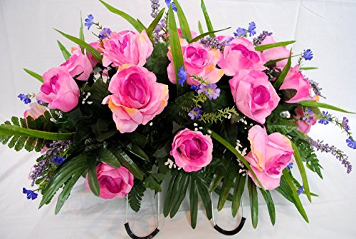Cemetery Saddle Flowers for Grave Decorations- Pink Roses with Purple Flowers Highlights