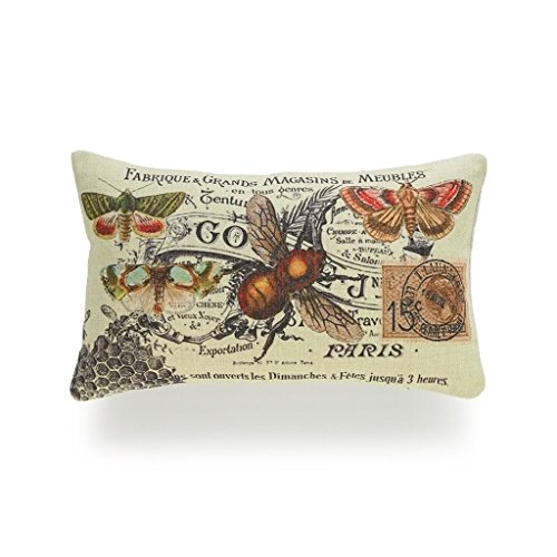 Acelive 12 x 20 Inches Decorative Lumbar Pillow Cover Heavy Weight Cotton Linen French Country Vintage Bee Collage For Sofa Study Room Coffee House Decor Decoration Holiday ()