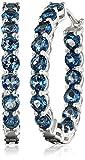 Sterling Silver London Blue Topaz Round Hoop Earrings, 1.25''