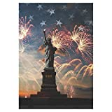 InterestPrint Statue of Liberty Independence 4th of July Firework Polyester Garden Flag House Banner 28 x 40 inch, USA Flag Sunrise Memorial Day Decorative Flag for Home Outdoor Garden Decor