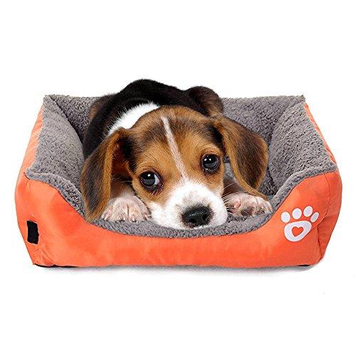 Giho Soft Washable Self-Warming Rectangular Dog Basket Bed with Fleece Lining, Medium, Orange