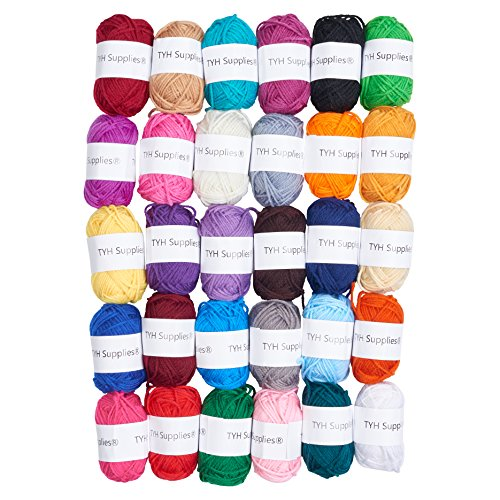 TYH Supplies 30 Skeins Yarn Assorted Colors 44yd Each 100% Acrylic for Crochet & Knitting Multi Pack Variety Colored Assortment 44 Yards Each (3 Ply Acrylic Yarn)