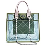 Women PVC Clear Quilted Shoulder Strap Transparent Bag Waterproof Chain Purse Handbag (Green)
