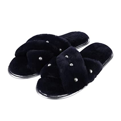 8be248c5671 Amazon.com  TANGOGO Women Furry Slippers Soft Fur Home Fashion Shoes ...