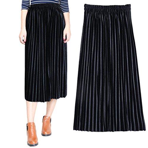Velours Noir Femme Jupes Jupe Plisse Longue Haute Bleu Femme Noir Jupe LuckyGirls Vintage Taille qAw7Ic