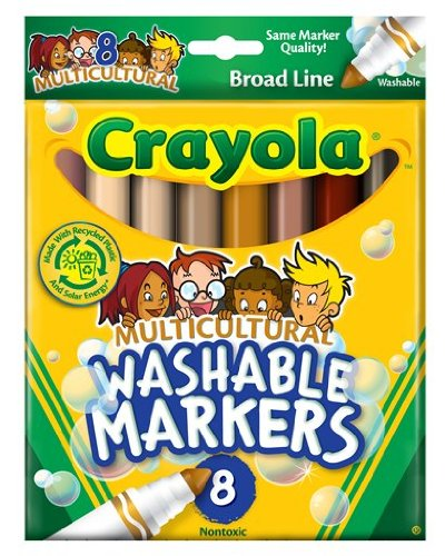 Crayola 8 Count Washable Multicultural Colors Conical Tip Markers, Office Central