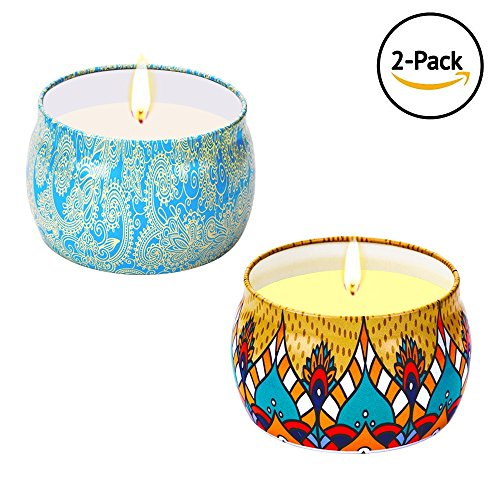 - Wonsain Scented Candles Gift Set - Vanilla, Jasmine, Portable Travel Tin Candles 100% Natural Soy Wax for Stress Relief and Aromatherapy, Christmas Gift Candles