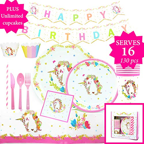(Gold Orongo Unicorn Birthday Party Supplies Beautiful Happy Pack for Girls -Serves 16 - Magical Day for Your Little Princess | Complete Disposable Set (130 Item kit) + Unlimited Cupcakes)