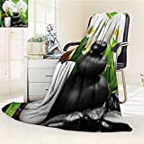 YOYI-HOME Lightweight Summer Duplex Printed Blanket,Spa Zen Hot Massage Stones with Orchid Candles and Magnificent Nature Black White and Green Bed,Sofa, Air-Conditioner Room /W59 x H39.5