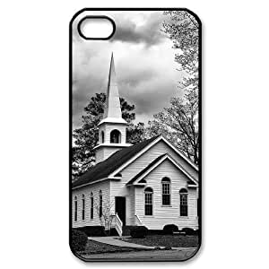 Custom Cover Case with Hard Shell Protection for Iphone 4,4S case with Church lxa#490037