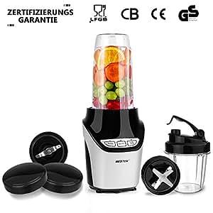 Batidora de Vaso 1000W,BESTEK Licuadora Acero Inoxidable Picar Hielo con 2 Velocidades, 1L Vaso, Libre de BPA-Color Negro