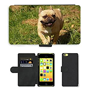 PU LEATHER case coque housse smartphone Flip bag Cover protection // M00130223 Bulldog Dog // Apple iPhone 5C