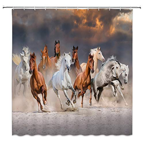- Lileihao Horse Shower Curtain Strong Running Animal Bathroom Decor Background Waterproof Polyester Fabric Home Bath Accessories Hanging Curtains Sets Non Peva 69 x 70 Inch with Hooks Brown White