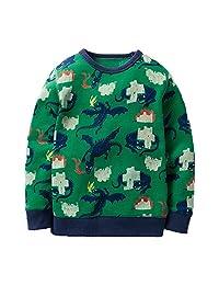 KIDSALON Little Boys' Cotton Crewneck Long Sleeve Cute Cartoon Top/T-Shirt