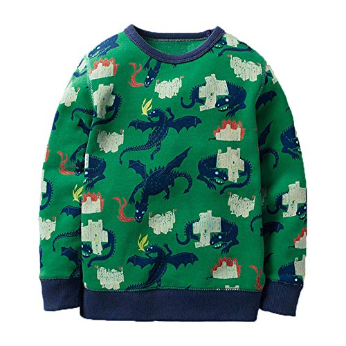 (KIDSALON Little Boys' Cotton Crewneck Long Sleeve Cartoon T-Shirt (6T, Flying Dragon))