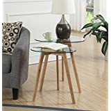 Convenience Concepts Clearview Accent End Table, Natural/Glass