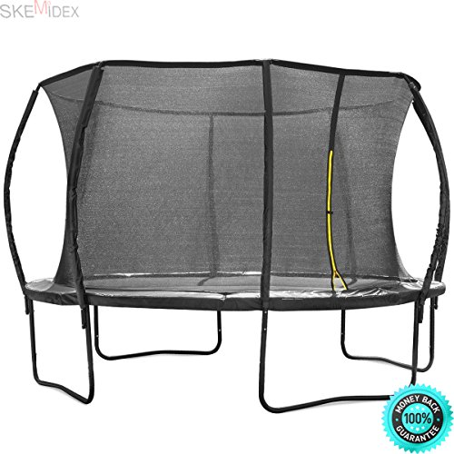 SKEMIDEX---12 feet round oval Trampoline Safety Enclosure Net Jump Bounce Outdoor Backyard And trampolines on sale best trampoline reviews 14' trampoline with enclosure safest trampolines by SKEMIDEX