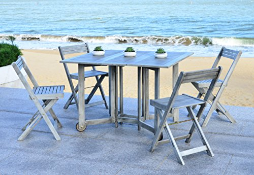 - Safavieh Outdoor Living Collection Arvin 5-Piece Dining Set, Ash Grey