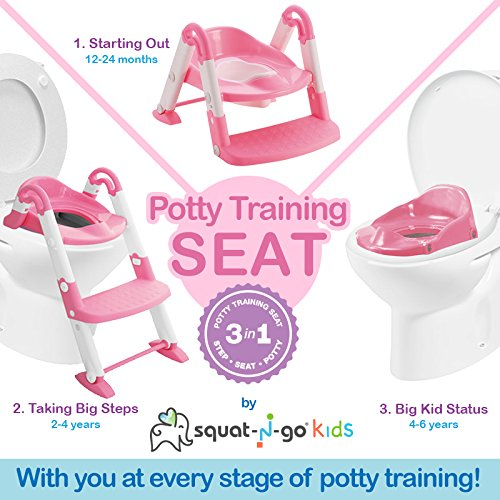 Collapsible Toilet Training Step Stool assists Your Toddler to go While They Grow Convertible Potty Trainer for All Stages Ages 1-4 Babyloo Bambino Booster 3 in 1 Gray
