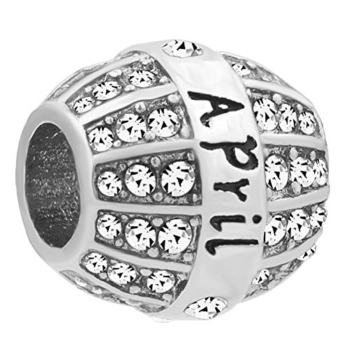 Corykeyes Jan-Dec Birthstone Charms Birthday Spacer Bead for Bracelet (April)