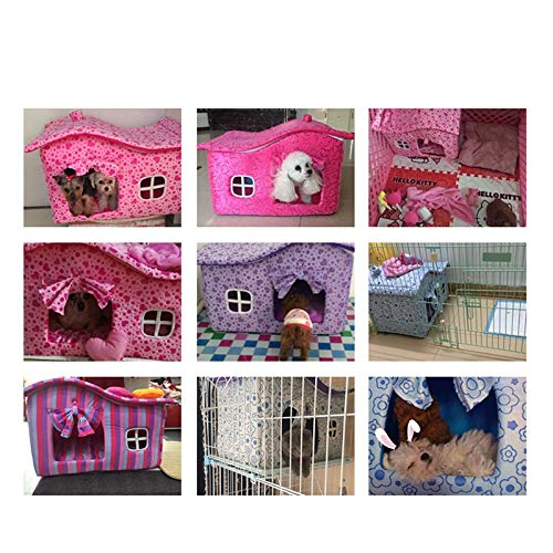 Byx- Pet Nest - con Cortinas Kennel Winter House Lavable Pet Dog House Teddy Kennel Dog House Cat Litter Cotton Nest Manta de Regalo -Mascotas Nido (Color ...