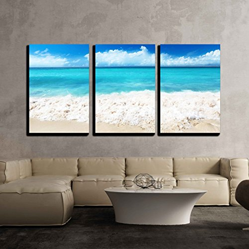 Wall26   3 Piece Canvas Wall Art   Sand Of Beach Caribbean Sea   Modern Home Decor Stretched And Framed Ready To Hang   24 X36 X3 Panels