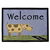 """Park B. Smith PB Paws & Co. Welcome Dog Tapestry Indoor/Outdoor Pet Mat Rug, 19 x 27"""", Blue Water"""