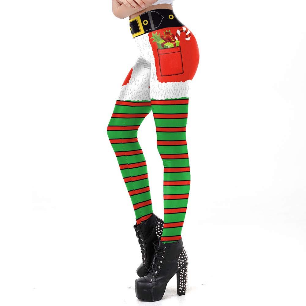 cinnamou-Damen Hose Leggings Weihnachten Blumenmuster Langhose Freizeithose Bleistifthose Christmas Geschenk Herbst Winter