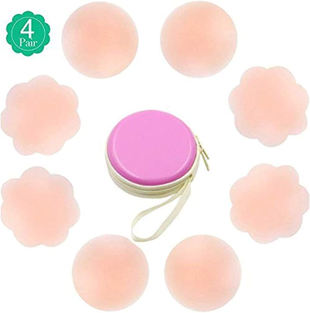 Womens Nipple Covers Reusable Round Silicone Nude Color