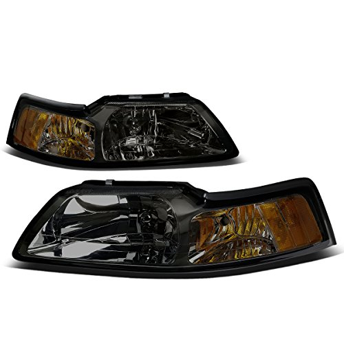 For Ford Mustang New Edge 4th Gen Pair of Smoked Lens Amber Corner Headlight -