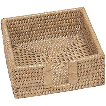 Caspari Rattan Cocktail Napkin Holder in White Natural, 1 Each